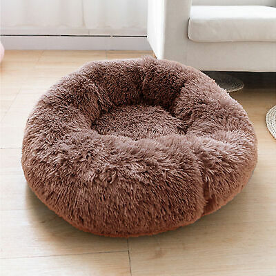 Plush Pet Dog Cat Bed Fluffy Soft Warm Calming Bed Sleeping Kennel Nest Donut US