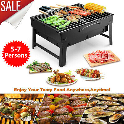 FOLDING BBQ BARBECUE Stainless Steel Charcoal Grill Outdoor