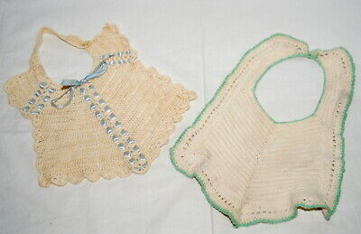 Vtg Baby Bibs Hand Crochet w Buttons Blue Ribbon Green Trim Lot Dolls Farmhouse
