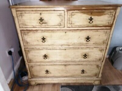 Rare Original Painted Antique Victorian Pine Chest Of Drawers.