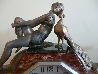 STUNNING 1930s Reclining lady FRENCH ART DECO MARBLE MANTLE CLOCK WORKING