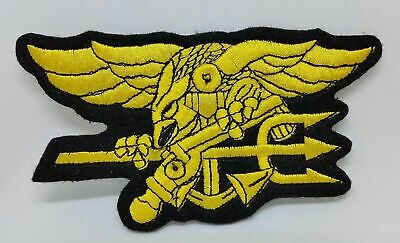 Tactical Military US Navy Seal Patch Combat Badge Black Yellow Embroidered Patch