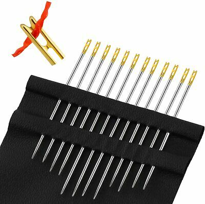 12 Self Threading Sewing Needles - Assorted Sizes - Easy Thread