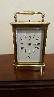 Good French Corniche Striking Repeater Alarm 8 DayCarriage Clock c1890