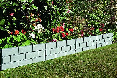 Greenhurst Brick Plastic Garden Border Lawn Edging Plastic, Grey, Set of 4