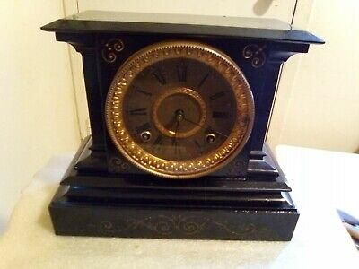 Antique Ansonia Clock Co. Victorian Cast Iron Mantle Clock vintage with key