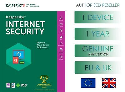 Kaspersky Internet Security 1 Device 1 Year Global Genuine License - Email