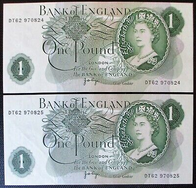 2 x Bank of England J B PAGE £1 Banknotes (BE81c) Consecutive and MINT UNC