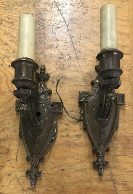 Pair Antique Arts Gothic Wall Sconce Heavy Cast 2 Single Candle