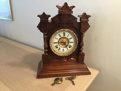 Ansonia Chiming Mantel Clock Working With Key & Pendulum. V.g.c Ansonia Newyork