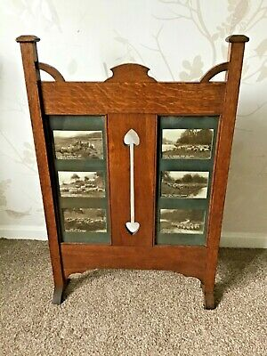 Wooden Fire screen With Picture Inserts