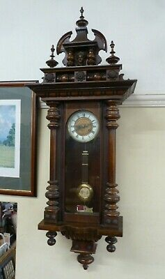 VIENNA VICTORIAN MAHOGANY WALL CLOCK  Antique 19th century