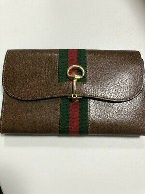 GUCCI Long Wallet Leather Green and Red Web the Ring & Bar Design Brown