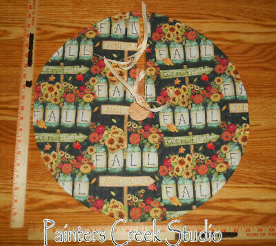 """SCARECROW Details about  /PUMPKIN PATCH CROWS Handmade Autumn Mini Tree Skirt,19/"""" dia,tabletop"""