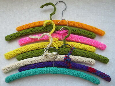 Vintage Lot of 8 Yarn Covered Wood Hangers Crochet Knit Handmade Colors Vary