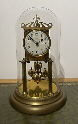 Antique German 400 Day Anniversary Torsion Clock With Glass Dome Spares Repairs