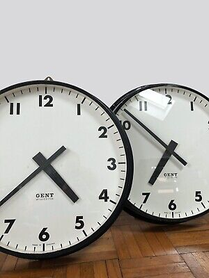 Pair Large Industrial Gent Gents Of Leicester Railway Station Factory Clock