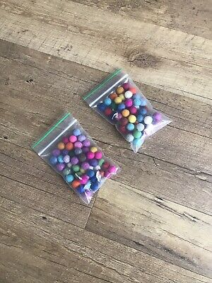 100 Coloured felt balls - 1CM Diameter - 100% Cotton