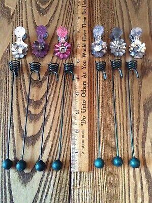 Lot Of Vintage & Antique Tin Metal Christmas Feather Tree Candle Clips Weighted