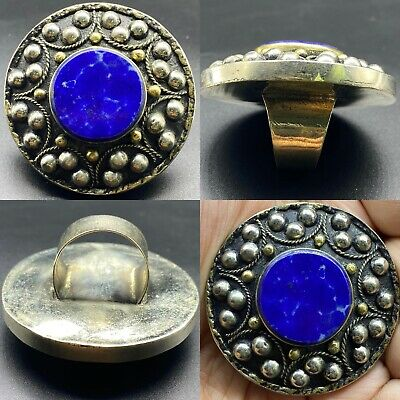 Lovely afghan lapis lazuli Stone old silver mixed unique Ring size 6