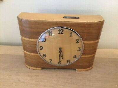An Art Deco Wood Mantel Clock Working, Rare Unusual. Approx 1920/1930  V.g.c