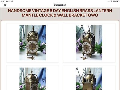 Handsome Vintage 8 Day English Brass Lantern Mantle Clock & Wall Bracket Gwo
