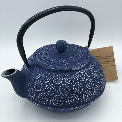 Japanese Heavy Cast Iron Teapot With Tea Strainer Blue & Silver Flowers NEW