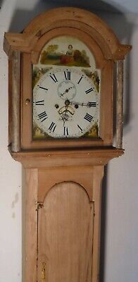 "Antique Pine   "" Bishport ""  Painted  Dial  Longcase / Grandfather  Clock"