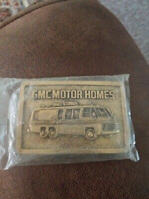 Vintage New GMC Motor Home Solid Brass Belt Buckle