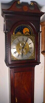 Antique  Mahogany  Brass Moon  Phases Dial   Longcase / Grandfather Clock