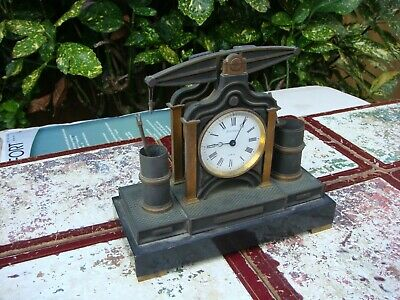 Antique Vintage French Slate SPITTALL Mantle Clock For Restoration Spare Repair