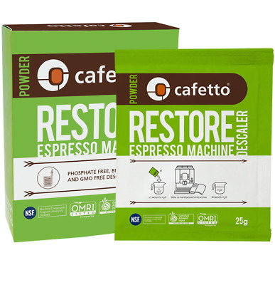 4 x 25g RESTORE DESCALER Coffee Espresso Machine Eco Cleaning Sachets by CAFETTO