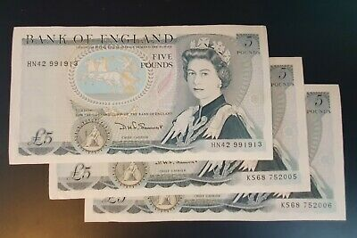 Five Pound £5 Banknotes 1981 Uncirculated B343 x3 (inc 2 consecutive serial #s)