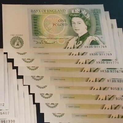 10 One Pound £1 Banknotes 1981 Uncirculated B341 x10 inc consecutives