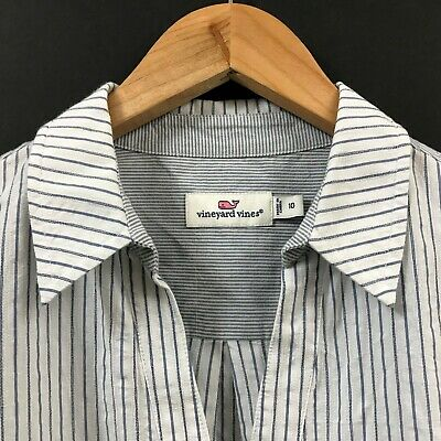 G95 Vineyard Vines Women/'s Relaxed Contrast Pckt Button Down White Cap Top $108