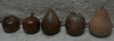 Collection of 5 Rustic Hand Turned Wooden Apples & Pears