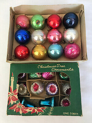 2 Boxes w/ 23 Vintage INDENT JAPAN MINI Feather Tree Glass Christmas Ornaments