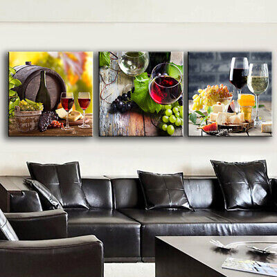 3Pcs Modern Home Canvas Wall Decor Art Painting Picture Print Red Wine & Grape