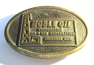 Solid Brass 1984 Noble Oil, Columbus, Ohio Belt Buckle by Anacortes Brass Works