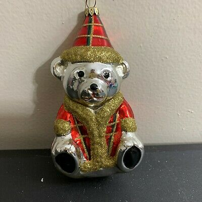Teddy Bear Christmas glass ornament gold silver mirror red green Scottish plaid