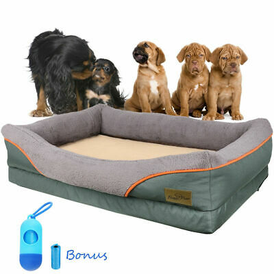 XXL Orthopedic Dog Bed Rectangular Lounge Sofa Pet Beds Bolster Couch Removable