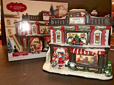 ST NICHOLAS SQUARE VILLAGE ILLUMINATED HOLIDAY SANTA's TOY CHEST - CHRISTMAS