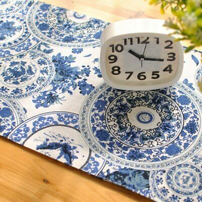 Blue Cotton Linen Tea Table Runner Round Endless Pattern Printed Home Decorative