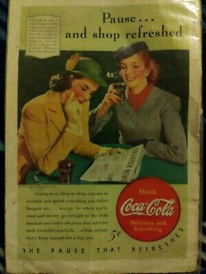 "Coca Cola /""the PAUSE that refreshes/"" Postcard 1930 Illustrated Vintage Coke"
