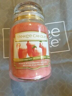 Yankee Candle White Strawberry Bellini Large Jar champagne strawberries scent