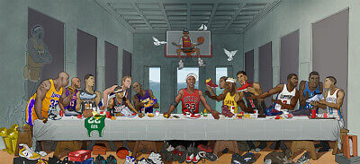 NBA Stars The Last Supper Poster Kobe Bryant Michael Jordan Art Print Silk