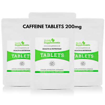 Caffeine Tablets 200mg Pre Work Out Energy Booster Focus Slimming Diet UK Made