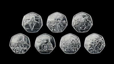 Isle of Man 50p VE Day Victory 7 Coin Letter Set Choose Your Coin Fifty Pence