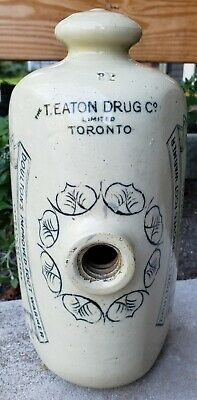 Antique Stoneware Advertising Bed/Foot Warmer T. Eaton Drug Co Doultons Improved