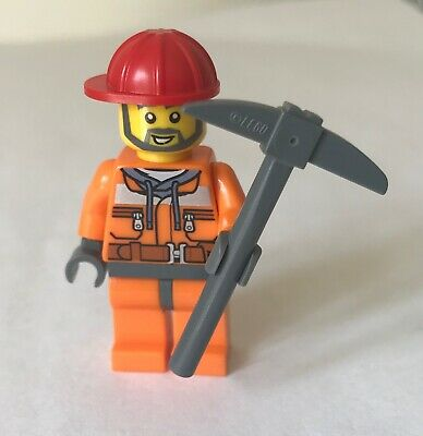 LEGO Town City worker construction site manager Minifigure Hard hat walkie talki